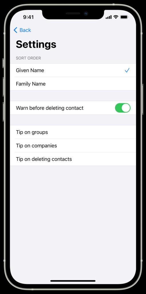 contact tool's settings